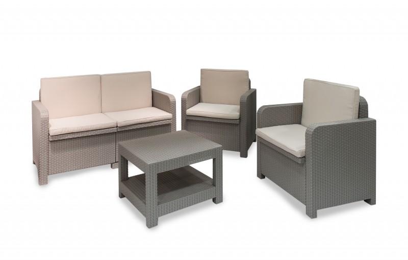 Noleggio Set salotto in eco rattan completo di divano, n.2 poltrone ...